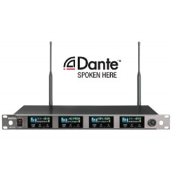 ACT-74 Dante Enabled UHF Quad-Channel Wideband Wireless Receiver